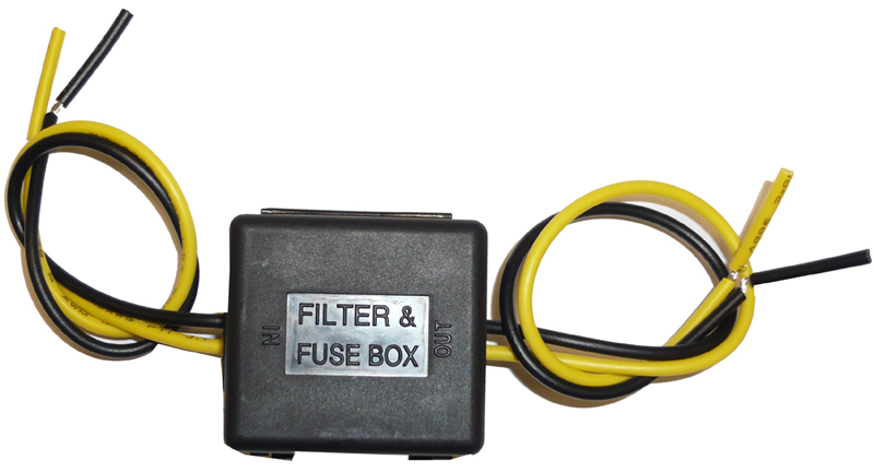 Strom-Entstörfilter 12/24V mit Glassicherung, 10/15A