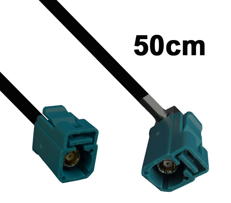 Kabel Fakra wasserblau, Buchse auf gewinkelte Buchse, 50cm
