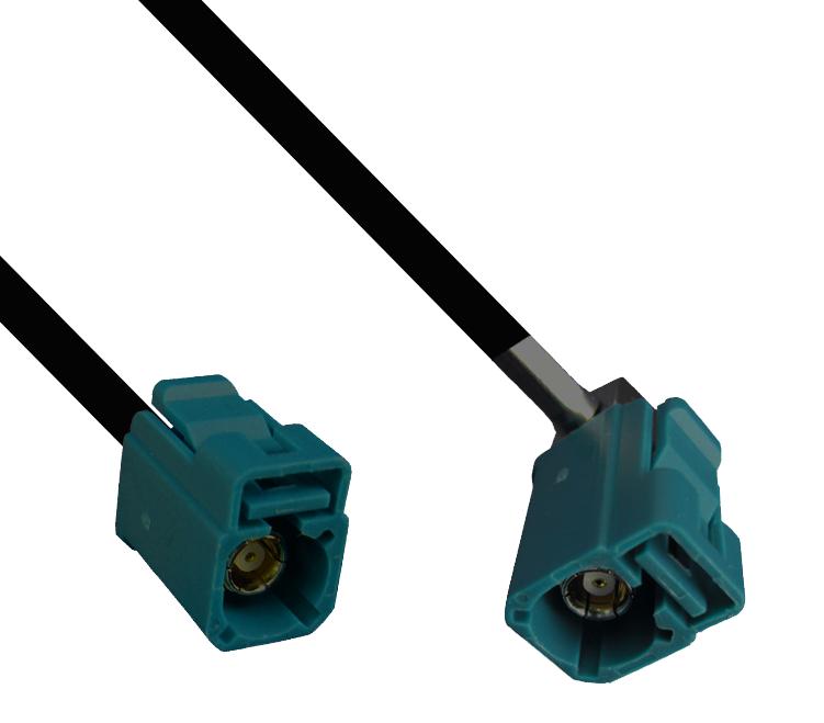 Kabel Fakra wasserblau, Buchse auf gewinkelte Buchse, 200cm
