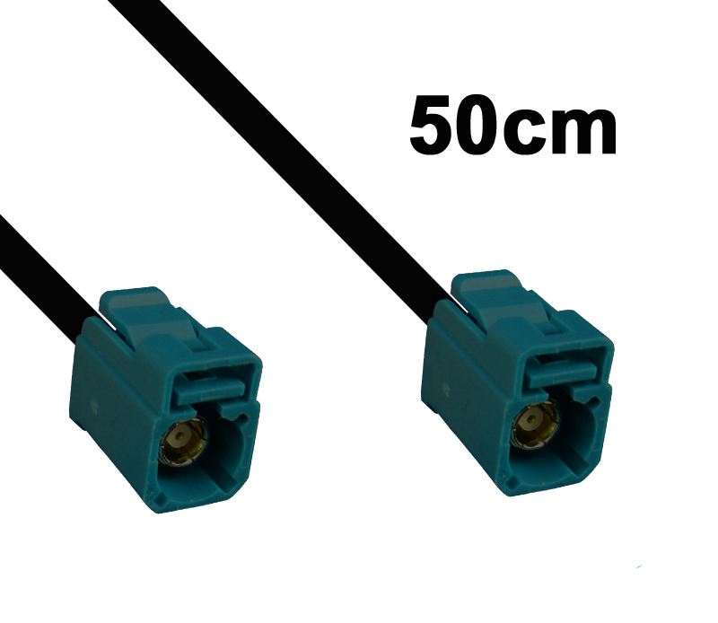 Kabel Fakra wasserblau, Buchse auf Buchse, 50cm