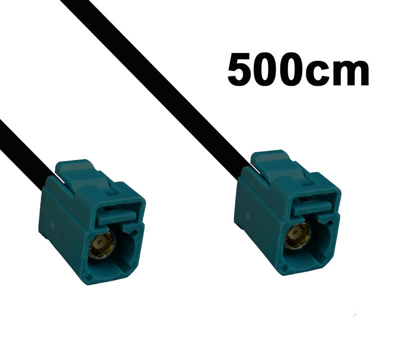 Kabel Fakra wasserblau, Buchse auf Buchse, 500cm