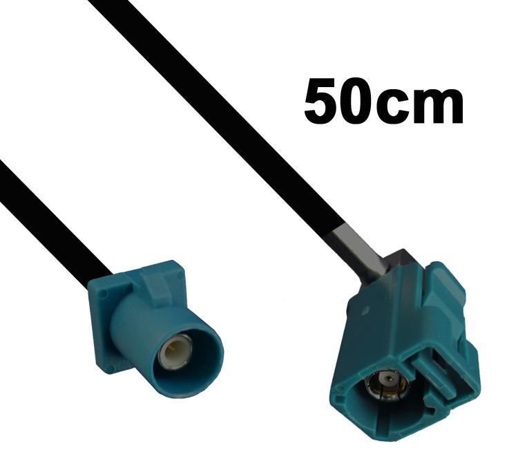 Kabel Fakra wasserblau, Stecker auf gewinkelte Buchse, 50cm
