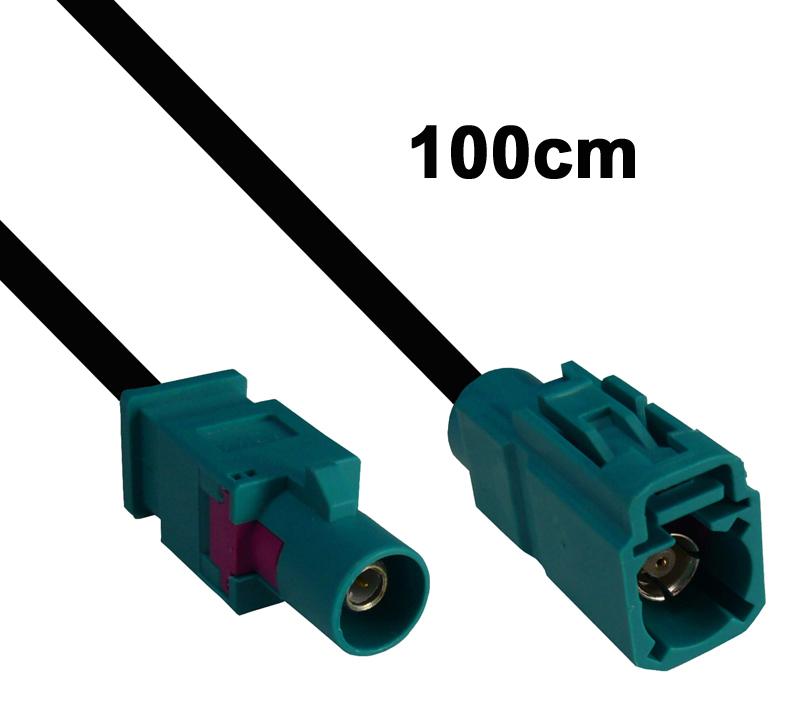 Kabel Fakra wasserblau, Stecker auf Buchse, 100cm