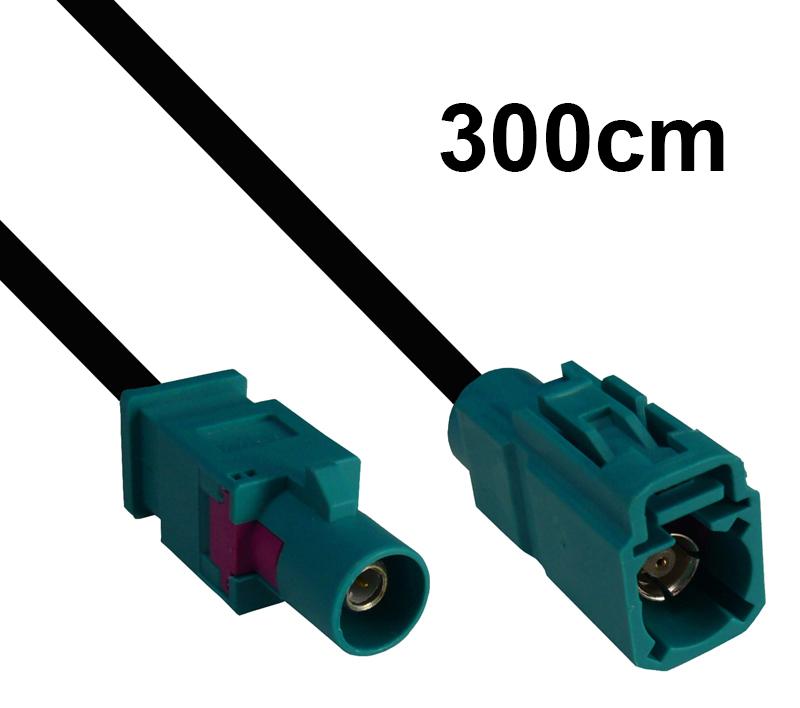 Kabel Fakra wasserblau, Stecker auf Buchse, 300cm
