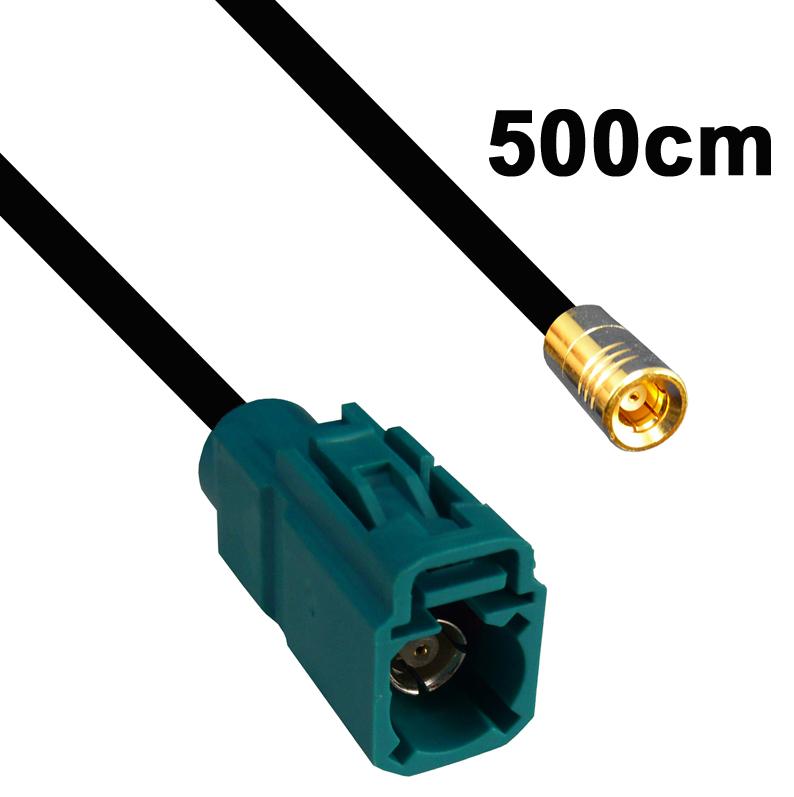 Kabel Fakra Buchse wasserblau auf SMB Buchse, 500cm