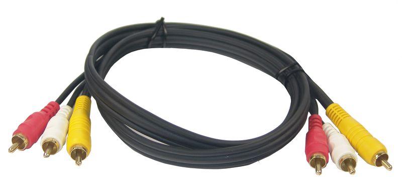 3-fach Cinch Kabel Stecker-Stecker 1m, vergoldet