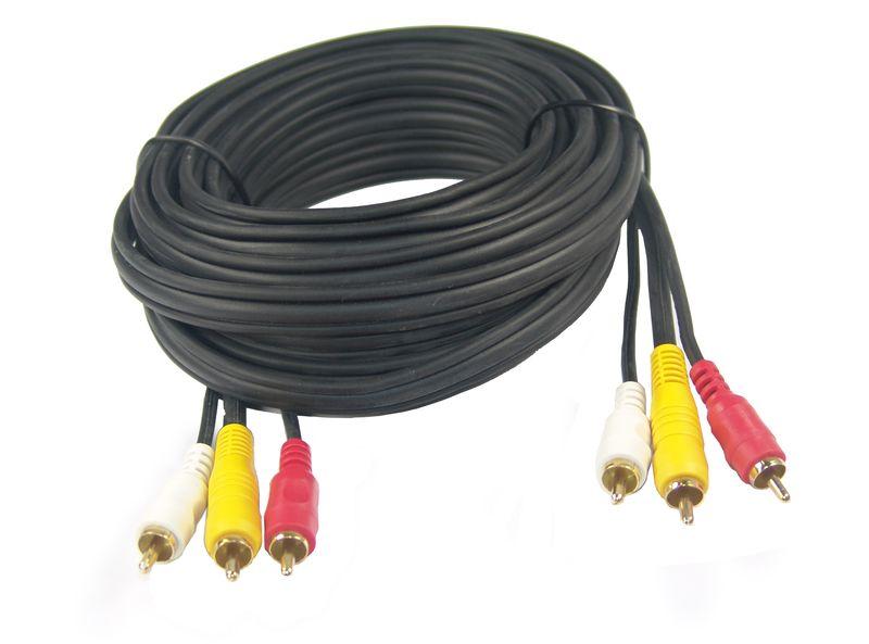 3-fach Cinch Kabel Stecker-Stecker 5m, vergoldet