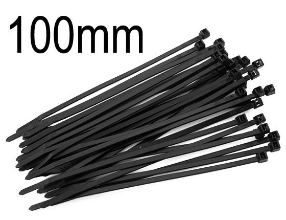 Kabelbinder schwarz, 2.5mm breit, 100mm lang, 100 Stück