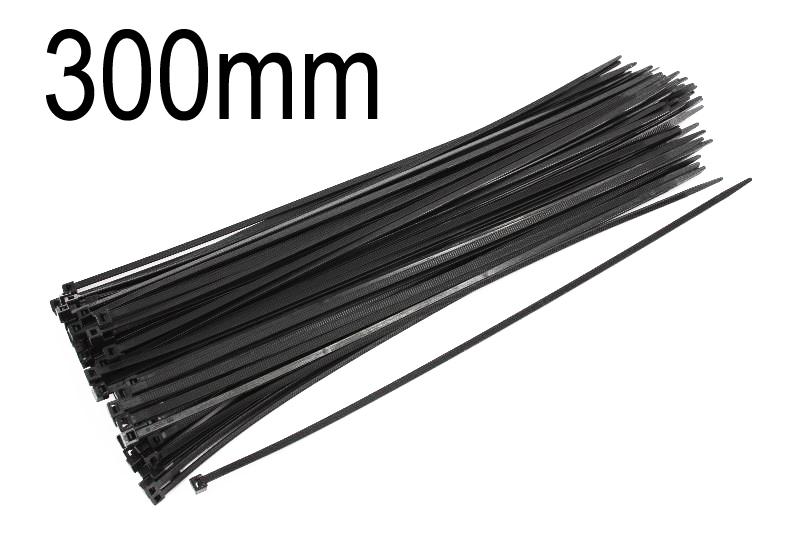 Kabelbinder schwarz, 3.5mm breit, 300mm lang, 100 Stück