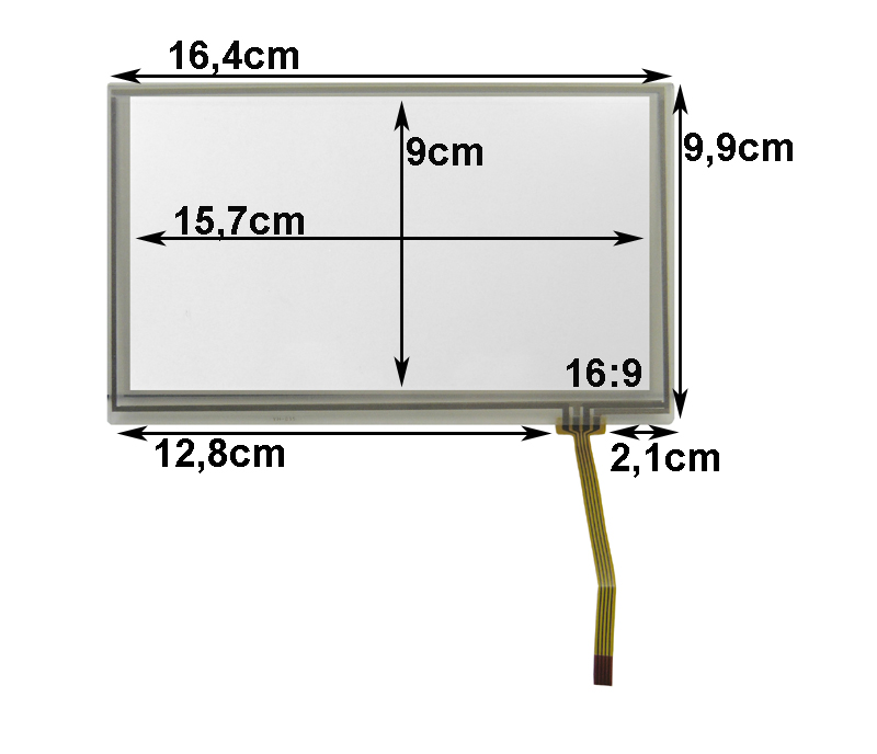 Touch-Screen Panel 7.0 Zoll, 16:9, Film, 99x164mm