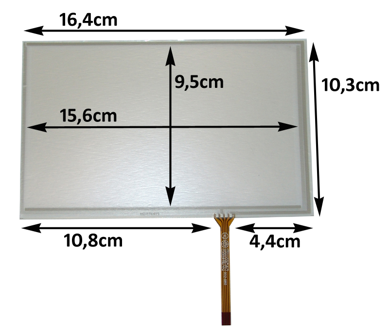 Touch-Screen Panel 7.1 Zoll, 16:9, Film, 103x164mm