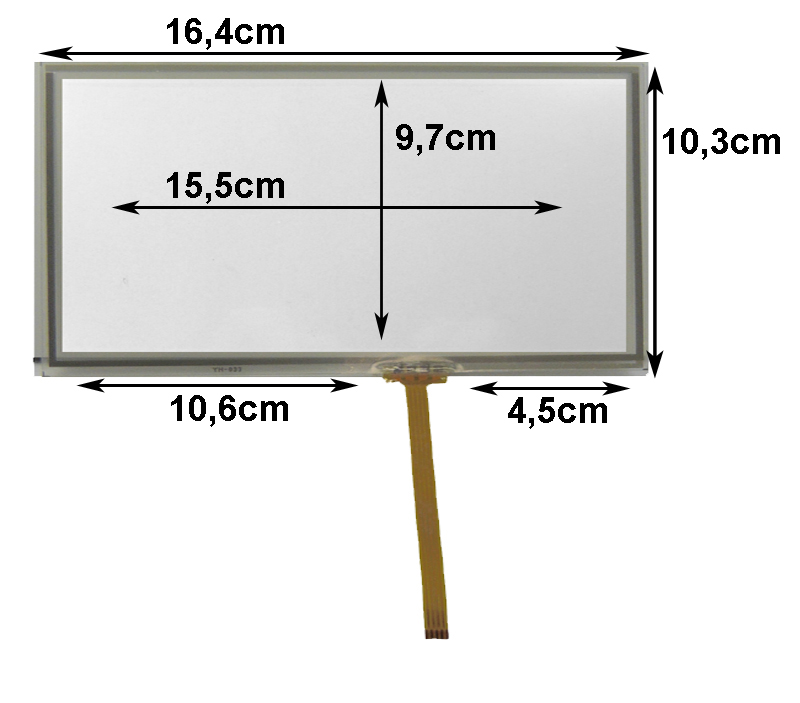 Touch-Screen Panel 7.0 Zoll, 16:9, Glas, 103x165mm