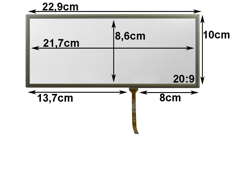Touch-Screen Panel 8.8 Zoll, 24:10, Glas, 100x229mm